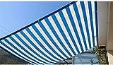 Frilivin Sonnensegel Rechteckig Sonnenschutz Garten UV Schutz Premium Schatten Tuch Markisen Blau-weiß Gestreift (1.8x2m)
