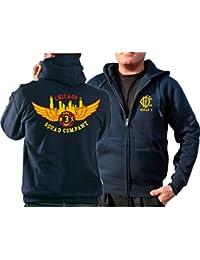 Survêtement à capuche bleu marine Chicago Fire Dept.–Squad 3Eagle Wings Skyline