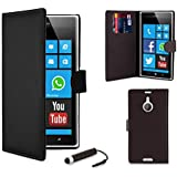 32nd® Book wallet PU leather case cover for Nokia Lumia 1520, Including Film Screen Protector and Touch Screen Stylus Pen - Black