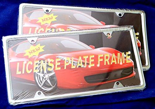 2x Slim Style Steel License Plate Frame Chrome 4...