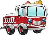 Bambinella® Bügelbild Aufbügler – gedruckte Velour / Flock Applikation zum selbst Aufbügeln - Motiv: Feuerwehrauto - Hergestellt in Deutschland