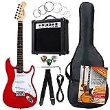 Rocktile Banger's Pack Komplettset E-Gitarre Rot (Verstärker, Tremolo, Tasche, Kabel, Gurt, Plecs, Ersatzsaiten und Schule mit CD/DVD)