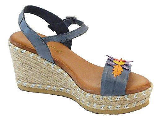 Sandali per donna Mercante di Fiori in pelle blu zeppa media in corda Marino