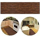ChasBete 30 x 360cm Anti-Rutsch Wasserdicht Sicherheitsboden Aufkleber Dünne PVC Boden Decor Aufkleber für Küche Bad Dusche Fußmatte, Braunem Holzmaserung