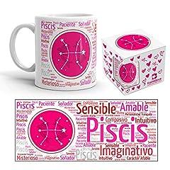 Idea Regalo - Kembilove - Tazza da caffè con Segno dello Zodiaco, Tazza da caffè e tè Oroscopo - Idea Regalo Originale Tazza da 350 ml - Tazza in Ceramica Stampata Rosa Pesci