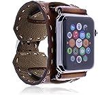Burkley Apple Watch 1 / 2 / 3 Lederarmband Uhrenarmband in breiter Ausführung mit handgearbeiteter Steppnaht Dornverschluss inkl. 42 mm Connector (Old Cognac / Branded)