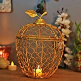 Home Sake Golden Apple Cage Candle Holder, Decorative Tea Light Holder Home Decor