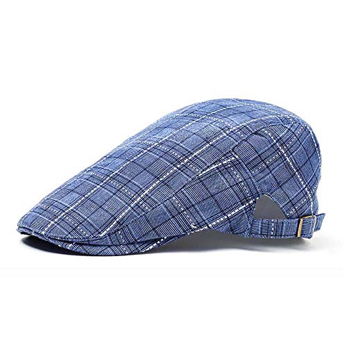 Nanxson Hombres Mujeres Ivy Tartán Beret Sombrero Caza Cabbie Gatsby Gorra Plana MZM0029 (Azul,L)