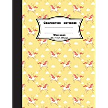Composition notebook wide ruled 8.5 x 11 inch 200 page,orange unicorn pattern: Large composition book journal for school student/teacher/office
