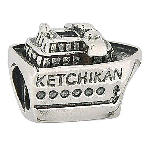 Shining Charm Ketchikan Alaska nave da crociera da viaggio Charm in argento Sterling 925, per braccialetti europei