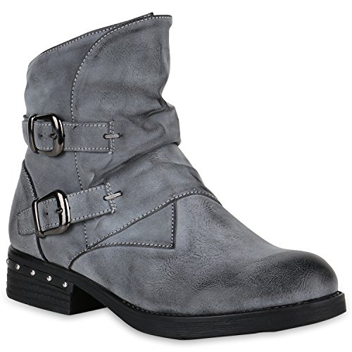 Coole Damen Biker Boots Gefütterte Stiefeletten Schnallen Schuhe 147654 Grau Avion 41 Flandell