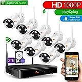 Camaras De Vigilancia Wifi,CORSEE 8 Canales 1080P NVR+8 pieza 1080P Cámaras Inalámbrica Sistema de vigilancia CCTV construido en 2TB Disco Duro(1080P Completo HD,con función de audio)