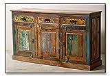 Side-Board in Handarbeit aus Alt-Holz hergestellt mit 3 Türen und 3 Schubladen 140x40x80 cm | Rivership | Bunte Kommode mit starken Gebrauchsspuren im Shabby Chic-Look 3-türig 140cm x 40cm x 80cm