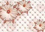 Fototapete Rot Gänseblümchen Leder Diamanten Ornament luxuriös Blumen Luxus Blüten S 200 x 140cm - 4 Teile Vlies Tapete Wandtapete - Moderne Vliestapete - Wandbilder - Design Wanddeko - Wand