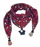 Los niños más gruesos de invierno abrigan bufandas triangulares, puntos de onda rojos y multicolores