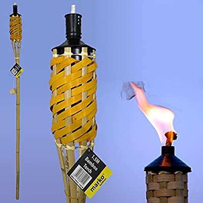 5FT / 150cm Reusable Oil Burning Natural Bamboo Tiki Torch Garden Pathway Lighting from Marko