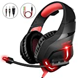 MillSO Gaming Kopfh�rer f�r PC PS4 Xbox One K1 Over Ear Gaming Headset mit Flexible Omnidirektional Mikrofon Noise Cancelling f�r Mac Nintendo Switch Tablet Smartphone - Rot Bild