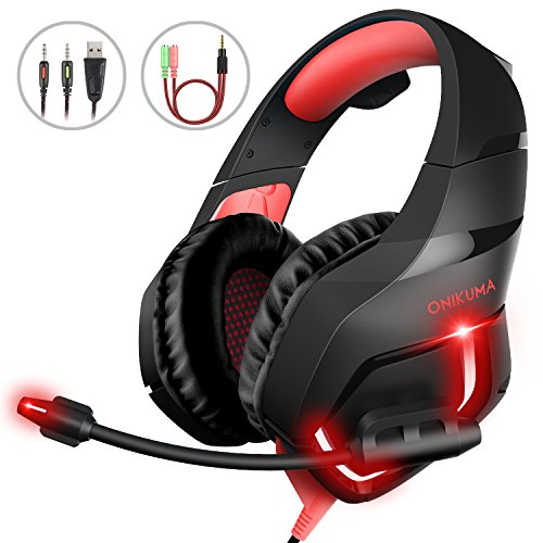 Gaming Kopfhörer PC, MillSO K1 Over Ear Gaming Headset mit Flexible Omnidirektional Mikrofon Noise Cancelling für Mac PS4 Xbox One Nintendo Switch Tablet Smartphone - Rot