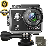 GeeKam Action Camera 1080P HD Underwater WiFi Cam 170° Wide Angle With 2