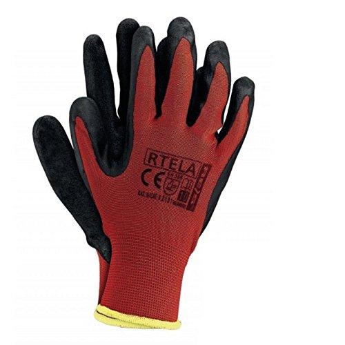 12 Paar Arbeitshandschuhe Gr. 7-11 Latexbeschichtung Handschuhe Montagehandschuhe RTELA CB ROT (8)