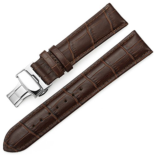 iStrap 20mm Echt Kalbsleder Uhrenarmbänder Uhrband Watch Band mit Edelstahl Klapp-Verschluss Baun