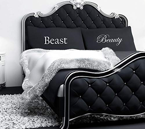 60 Second Makeover Limited Beauty und The Beast Schwarz Kissenbezüge Paare Kissen Fall Geschenk Betten Geschenk Hochzeit Valentinstag Weihnachten Geburtstag Verlobungsring (Die Und Paare Das Biest Schöne)