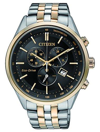 Citizen orologio da polso da uomo, con cronografo, al quarzo, in acciaio inox, at2146-59e