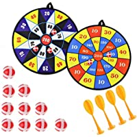 Queta Kids Safe Fabric Dart Board Game Set With 10 Sticky Balls 4 Safety Darts Self-adhesive Target Sports Indoor Outdoor Toss Game for Children Security Toy Set of 2