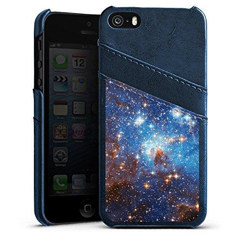 Apple iPhone 5 Housse étui coque protection Espace Galaxie Nuages de Magellan Étui en cuir bleu marine