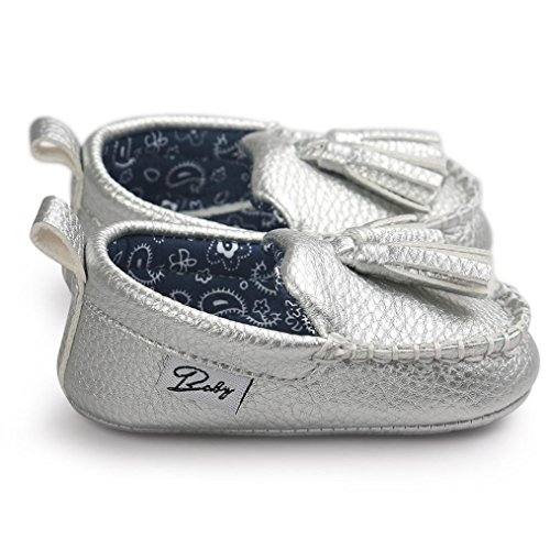Saingace Krabbelschuhe Baby-Mädchen-Jungen-weiche alleinige lederne Schuhe weiche untere Schuhe flache Schuhe Silber
