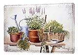 Cartel de chapa Placa metal tin sign Galer?a pintor Franz Heigl imagen fija vida vegetal 20x30 cm Mesa de jard?n de lavanda maceta