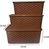 Fair Food 3 Piece Plastic Basket with Lid, Brown