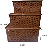#1: BASKET WITH LID (SET OF 3) (SMALL, MEDIUM & BIG) - BROWN