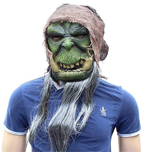 Guolipin Halloween Maske Halloween Maske Grün Latex Material Horror Lustige Kopfbedeckung Requisiten Kreativ Unikat Gesichtsmaske Scary Movie Charakter Erwachsene Cos (Kreative Unikate Kostüm)