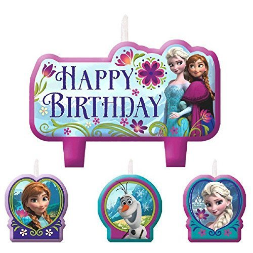 Frozen Birthday Candle Set Assorted Size Party Decoration (4 Pack), Multi Color