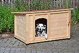 """dobar 55014FSC Hundehütte """"Lord"""", XL Outdoor Hundehaus für große Hunde, Platz für Hundebett, wetterfest imprägnierte Hundehöhle, Dach mit Aufstellvorrichtung, 120x75x70 cm, 35kg Holzhütte - 4"""