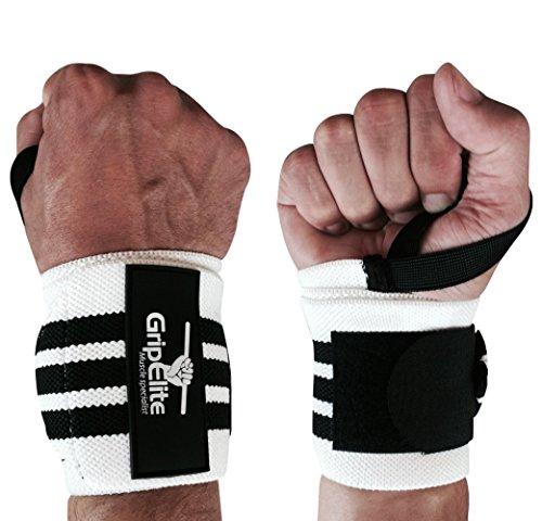 GripElite   Handgelenk Bandagen Bodybuilding   Sport Handgelenkschutz - Handgelenksschoner für CrossFit, Gymnastik, Gewichtheben   Wrist Wraps für optimalen Schutz des Handgelenks