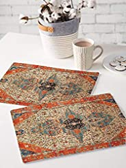 Brick Home Ethnic Digital Printed Table Mat (Set of 2) (Multicolor)