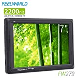 Sixcup® FW279 7 Inch 2200nit Ultra Bright DSLR Camera Field Monitor High Brightness Sunlight Viewable Full HD 1920x1200 4K HDMI Input Output (Schwarz)