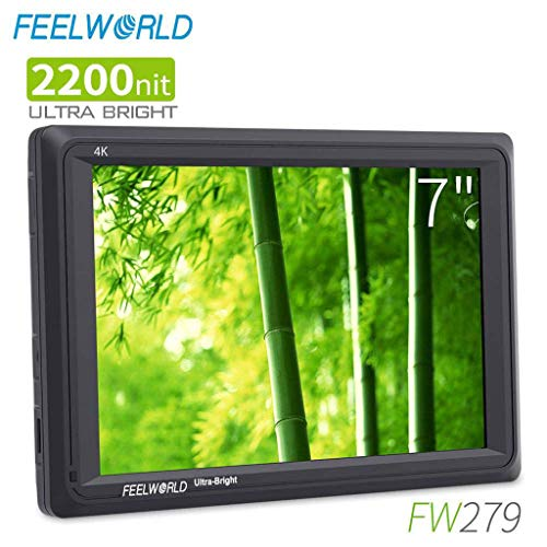 Sixcup® FW279 7 Inch 2200nit Ultra Bright DSLR Camera Field Monitor High Brightness Sunlight Viewable Full HD 1920x1200 4K HDMI Input Output (Schwarz) -