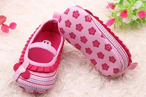 Smile YKK Krabbelschuhe Lauflernschuhe Baumwolle Spitze Baby-Mädchen Schuh 13 Weiss Pink