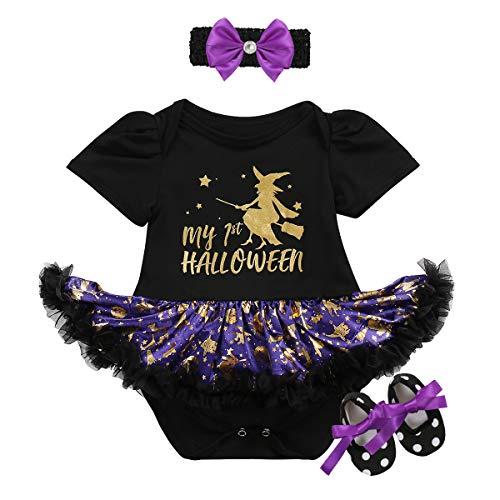 (OBEEII Baby Mädchen 1. Halloween Kostüm Kürbis Schädel Strampler Rüschen Tutu Rock mit Stirnband Schuhe Weihnachten Allerheiligen Cosplay Partei Kleid für Neugeborene Kleinkind 3-18 Monate)
