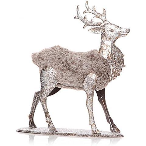 Vintage Babbo Natale Renna Cervo Albero di Natale Decorazioni Figurine in finta pelliccia