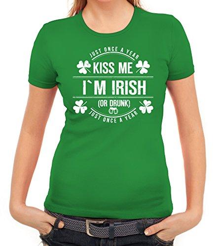 Irland St. Patrick's Day Partner Gruppen Damen T-Shirt Kiss Me I'm Irish, Größe: XL,Kelly Green