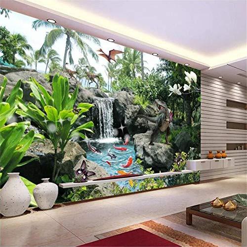 Pbldb Tapeten Sie Kundenspezifischen Hochwertigen Wohnzimmerdinosaurier Befallene Dekorative Malerei Der Gartenlandschaftshintergrund-Wand-150X120Cm