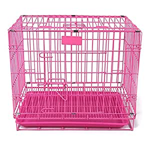 PetzLifeworld 18 Inch (1.5 Feet ) Small Puppy /Rabbit Cage with Removable Cleaning Tray (Pink)