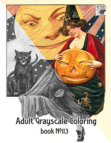 Mabuch fur Erwachsene (24 Seiten 20x30cm) Halloween Pinup Girls FLONZ Vintage Designs for Grayscale Coloring (Pinup Halloween)