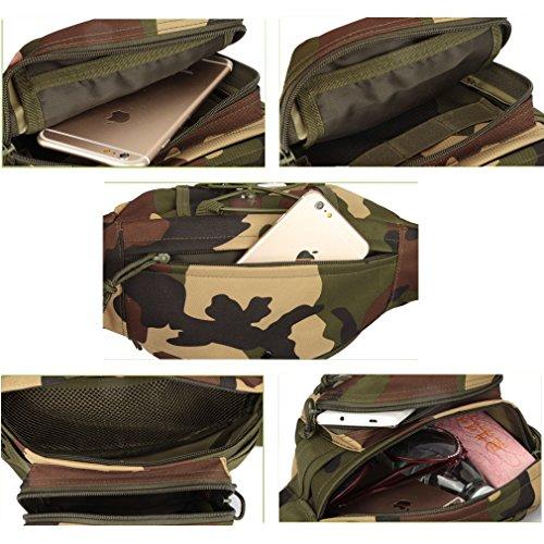 Military Hip Pack Utility Belt Tactical Hüfttasche Camo Molle EDC Tasche Kreuz Körper wasserdicht Fanny Packs Armee für Outdoor Wandern Klettern Laufen Reise Schulter Bauchtasche Desert Digital Camouflage
