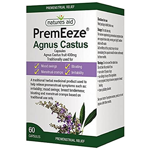 Natures Aid PremEeze Agnus Castus, Vegan Society Approved, 400 mg, 60 Capsules