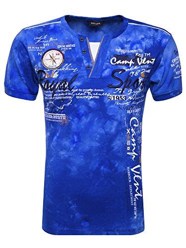 behype. Herren T-Shirt ROYAL-Sport Kurzarm Polo-Shirt 10-2878 Blau XL